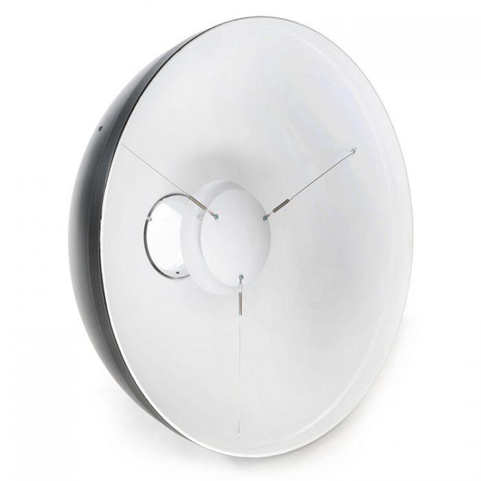 En hvid beauty dish, dette er min foretrukne reflektor til lyslægning.